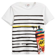 Junior Gaultier Boys White Graffiti Striped T-Shirt  at Childrensalon.com