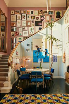 Blue and pink living space with large gallery wall in the staircase in a colorful art-filled home The Nordroom - The Colorful Copenhagen Home of an Art Collector<br> A home in Copenhagen filled with art, color and textures Decoration Inspiration, Interior Inspiration, Decor Ideas, Interior Ideas, Art Ideas, Home Tumblr, Decor Room, Bedroom Decor, Design Bedroom