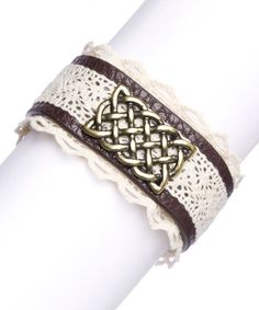 Look what I found on #zulily! Cream & Brown Leather & Lace Celtic Adjustable Bracelet #zulilyfinds