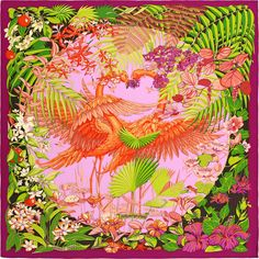2015 S/S | Flamingo Party | Shawl in cashmere and silk (140 x 140 cm) | Ref. : H242898S 14 Bougainvillier/Mauve/Vert