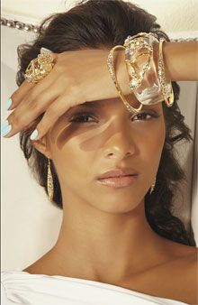 Alexis Bittar...Clear Embellished Cuff & Gold Bangles <3<3