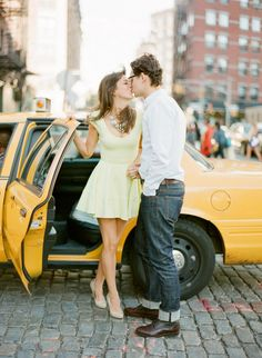 True New York City style yellow taxi engagement session: http://www.stylemepretty.com/2016/12/09/smpwedding101-your-guide-to-authentic-engagement-photos/