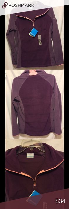 Half Zip Columbia New Columbia sweater. Two shades of purple with Pink coral trim. The price is removed from tag (it was a gift). Model is a true medium. Columbia Tops Sweatshirts & Hoodies