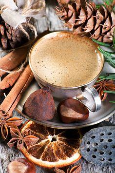 Coffee, cinnamon, orange slice #photography