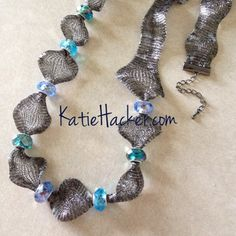 Katie's Beading Blog: DIY:Charm Bead Necklace - uses #Halcraft Bead Gallery beads. Love the mesh wire - really unusual.