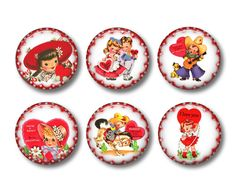 Valentine's Day Refrigerator Magnets Flat Backs Set of 6 pcs -Collection No.1