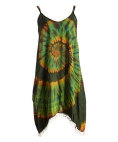 Green & Yellow Tie-Dye Handkerchief Dress #zulily #zulilyfinds