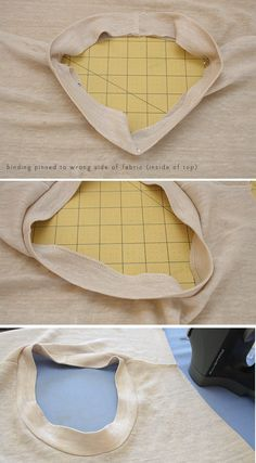 Neckline binding. Hint not mentioned in the tutorial: to give your knit shirts a more professional look, do not place the binding seam at the center back but rather at one shoulder seam. Small details really do matter!