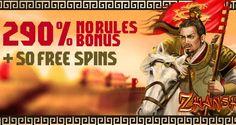 290% No Rules Bonus   50 Free Spins on Zhanshi @ 3 RTG Casinos March 2016