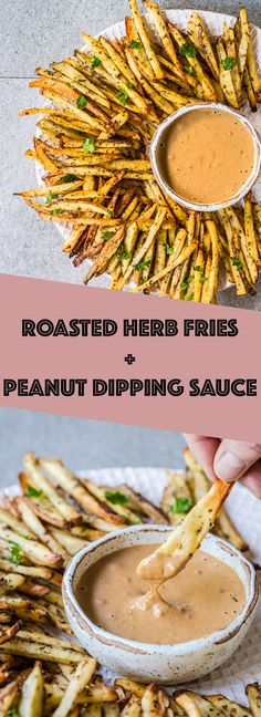 Roasted Herb Fries + Peanut Butter Dip! Crispy oven fries served with an easy peanut butter dip! #fries #peanutbutter #hotchips #lunch