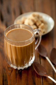 Cafe Au Lait with Chocolate Dipped Spoons