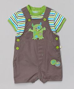 This Brown & Green Monster Overalls & Tee - Infant by Duck Duck Goose is perfect! #zulilyfinds