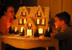 Detailed Instructions for Making a Lighted Gingerbread House. Get the gingerbread recipe plus learn how to make candy glass windows for a lighted house.