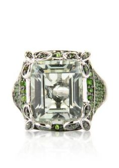 Belk  Co.  Green Amethyst Chrome Diopside and Green Diamond Ring in Sterling Silver