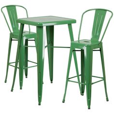 The retro-style Flash Furniture Round Metal Bar Table and Bistro Stools Set is ideal in a casual dining area, restaurant, or patio. Includes round table with a smooth top and protective rubber floor glides and 2 bar stools with slatted backs. Bar Table Sets, Bar Height Table, Table And Chair Sets, A Table, Bar Set, Pub Tables, Dining Tables, Kitchen Dining Sets, Dining Room Sets