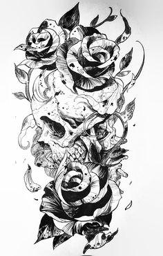 Skull Thigh Tattoos, Tatto Skull, Skull Tattoo Flowers, Skull Rose Tattoos, Thigh Tattoo Designs, Skull Tattoo Design, Skull Art, Flower Tattoos, Body Art Tattoos