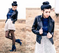 Silence + Noise Leather Jacket, Free People Chiffon And Lace Blouse, Betsey Johnson Heart Tights, Christian Louboutin Velvet Boots