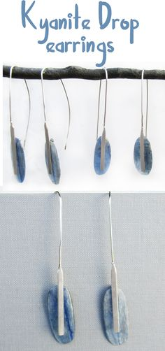 Modern metalwork highlights the prettiest of Kyanite slices in these gorgeous kinetic earrings