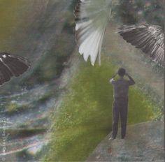 """""""geflügelte wesen"""". handmade collage by papiertänzerin."""