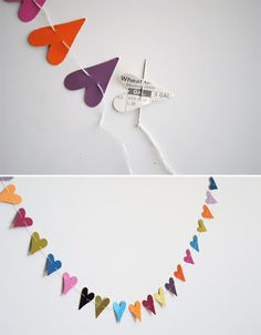 hearts craft An Arty Hearty Garland Inspiration ideas heart garland DIY inspiration found and beautiful diy weddings diy