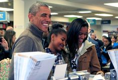 President Barack Obama headed to the bookstore with Sasha and Malia for Small Business Saturday in November.