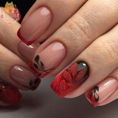 manicura en rojo u negro con degradado y relieves.
