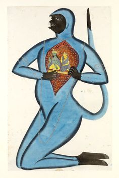 Painting, opaque watercolour and tin alloy on paper, Hanuman revealing Rama and Sita enshrined in his heart. Hanuman is painted in trademark Kalighat style, as a monkey with human facial features including pointed chin and whiskery moustache, and nearly always with a blue body and black hands, feet, face and tail tip. 1830