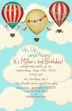 Hot Air Balloon Birthday Party Invitations by lizBsstationeryshop, $25.00