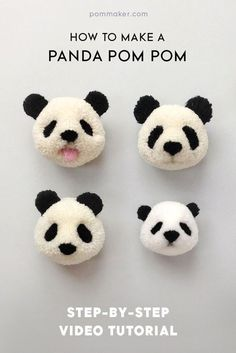 75 Most Profitable Crafts to Sell to Make Money - Crochet & yarn crafts - Crafts To Make and Sell – Panda Pom Pom – 75 MORE Easy DIY Ideas for Cheap Things To Sell on Et - Jar Crafts, Cute Crafts, Diy And Crafts, How To Make Crafts, Decor Crafts, Diy S, Yarn Crafts Kids, Kids Crafts To Sell, Crafts For Teens To Make