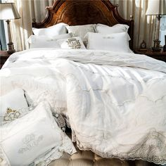 White Embroidery Cotton Bedding Sets Luxury Duvet Cover Set princess lace edge Queen/King size wedding Bedclothes Bed Linen #Affiliate