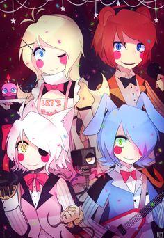 Toy Chica, Toy Freddy, Mangle y Toy Bonnie de Five nights Att Freddy's(Video Juego) Versión anime :3