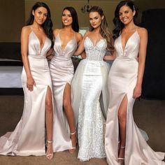 b9ff3c0df6 Elegant Sexy Spaghetti Strap Shinning Split Mermaid Long Bridesmaid Dr –  AlineBridal Dresses With Sleeves