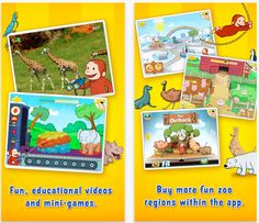Curious George at the Zoo - interactive safari featuring 5 animals and one mini game. #kids #apps #animals