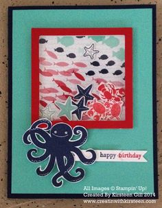 Shaker Card - using the new Stampin' Up! Sea Street stamp set and Maritime Designer Paper, square framelits, window sheets and Stampin' Dimensionals to create the shaker window. #stampinup #shakercard #seastreet