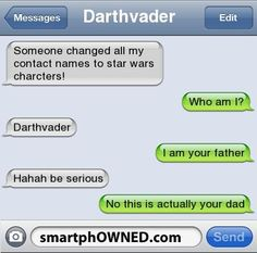 Star Wars phone contacts...