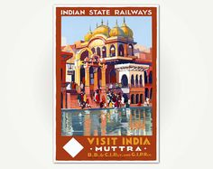 Print of vintage India travel poster, featuring the art of Fred Taylor, this version stamped Cunard, Boston, circa 1930.  ABOUT YOUR PRINT … Your print of this poster is printed on fine art paper thats acid free, 10mil+ matte finish using archival inks.  SIZES AND SPECIAL REQUESTS ... A series prints (A1-A4) are centered onto standard North American print sizes. Each poster includes crop marks which make it easy for you trim the prints to fit your frames perfectly. Im happy to print in just…