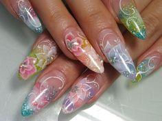 カラフル和スカルプ 【神奈川・平塚/nailsalon Spice☆】 http://nail-beautynavi.woman.excite.co.jp/design/detail/21801?pint ≪ #nail #nails #nailart #flower #softgel #blue #pink #green #ネイル #ソフトジェル≫