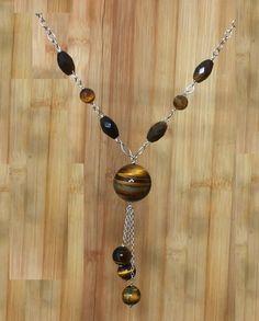 20mm Brown Tiger Eye Gemstones 925 Silver Vintage Handmade Necklace, Healing Protection Meditation Yoga Lucky Zodiac Capricorn Necklace by ArtGemStones on Etsy
