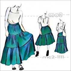 FREE: PDF Patterns for making 3-tier Easy-to-make Gipsy/Gypsy/Peasant/Prairie Skirt