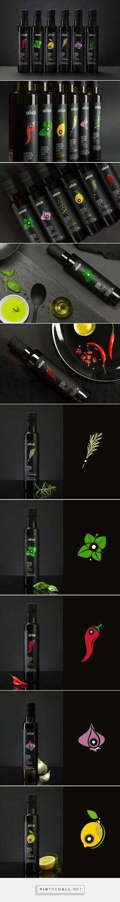 Olico Flavors | Gourmet Olive Oil packaging design by Aspa Chroneou / Brand Identity Design - https://www.packagingoftheworld.com/2018/02/olico-flavors-gourmet-olive-oils.html