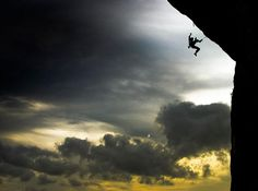 A last-ditch attempt on the Demi Lune Wall ends in flight, Ceuse, France. Photo by Tim Howard.