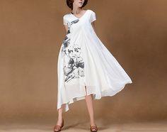 V neck vintagestyle silk large hem dress white by Lemontree2013, $89.90