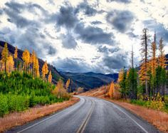 Montana Mountains Autumn Landscape Highway Road Large Wall Decor Fine Art Nature Gold Orange Gray Green Blue White Home Office Photography