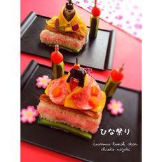 孫ちゃん達にちらし寿司つくりました♡女の子2人なのでお雛様、2つ作りました♡喜ぶ顔が見たかった〜 - 298件のもぐもぐ - ひな祭り♡ちらし寿司 by okon