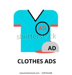 Modern flat thin line design vector illustration, concept of advertising on clothes, for graphic and web design