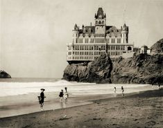 Vintage photo print Cliff House San Francisco beach antique Victorian photograph architecture old hotel black and white photography Cliff House San Francisco, San Francisco Beach, Victorian Architecture, Architecture Old, Amazing Architecture, Vintage Photographs, Vintage Photos, Antique Photos, Rare Photos