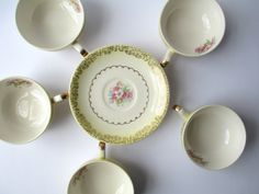 Vintage Paden City Yellow Floral Teacups & Saucers by thechinagirl