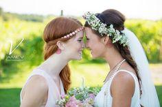 Bride and Maid of Honor, sisters, bohemian-style wedding, Samson Estates Winery Wedding Photography, Jamie V Photography