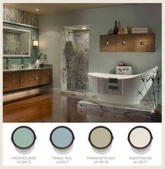 ROOM DECOR & SET UP:  Spa-like color palate ideas Bath-Spa-Cans-Border