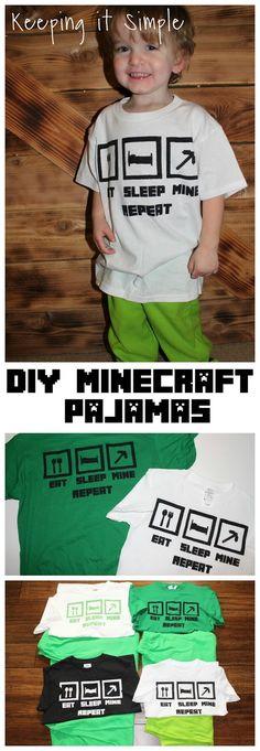 Keeping it Simple: Christmas Pajamas Idea- Easy DIY Minecraft Pajamas